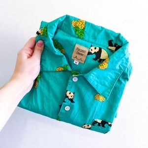 Fielder's Derby Teal Panda & Pineapple Button Down